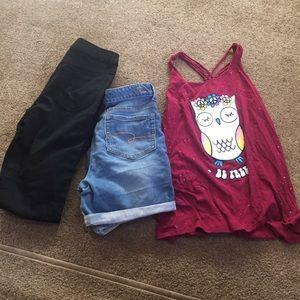 Justice 3 piece bundle, Shorts, tank, pants
